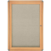 "Ghent® 1 Door Ovation Bulletin Board, Beige Fabric/Maple & Chrome Frame, 24-1/8""W x 33-3/4""H"