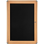 "Ghent® 1 Door Ovation Bulletin Board, Black Fabric/Maple & Chrome Frame, 24-1/8""W x 33-3/4""H"