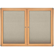 "Ghent® 2 Door Ovation Bulletin Board, Beige Fabric/Maple & Chrome Frame, 46-7/8""W x 33-3/4""H"