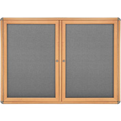 "Ghent® 2 Door Ovation Bulletin Board, Gray Fabric/Maple & Chrome Frame, 46-7/8""W x 33-3/4""H"