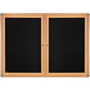 "Ghent® 2 Door Ovation Bulletin Board, Black Fabric/Maple & Chrome Frame, 46-7/8""W x 33-3/4""H"