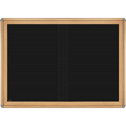 "Ghent® 2 Sliding Doors Ovation Letter Board, Black w/Maple Chrome Frame, 46-7/8""w x 33-3/4""H"