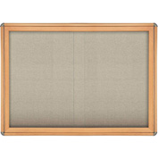 "Ghent® 2 Sliding Door Ovation Bulletin Board, Beige w/Maple & Chrome Frame, 46-7/8""W x 33-3/4""H"