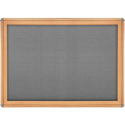 "Ghent® 2 Sliding Door Ovation Bulletin Board, Gray w/Maple & Chrome Frame, 46-7/8""W x 33-3/4""H"