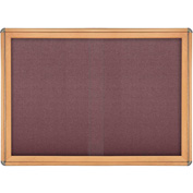 "Ghent® 2 Sliding Door Ovation Bulletin Board, Merlot w/Maple & Chrome Frame, 46-7/8""Wx33-3/4""H"