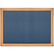 "Ghent® 2 Sliding Door Ovation Bulletin Board, Blue w/Maple & Chrome Frame, 46-7/8""W x 33-3/4""H"
