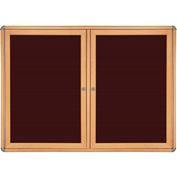 "Ghent® 2 Door Ovation Letter Board, Burgundy w/Maple Chrome Frame, 60-1/8""w x 36-1/8""H"