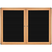 "Ghent® 2 Door Ovation Letter Board, Black w/Maple Chrome Frame, 60-1/8""w x 36-1/8""H"