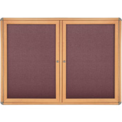 "Ghent® 2 Door Ovation Bulletin Board, Merlot Fabric/Maple & Chrome Frame, 60-1/8""W x 36-1/8""H"