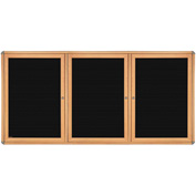 "Ghent® 3 Door Ovation Letter Board, Black w/Maple Chrome Frame, 72-1/8""w x 48-1/8""H"