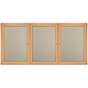 "Ghent® 3 Door Ovation Bulletin Board, Beige Fabric/Maple & Chrome Frame, 72-1/8""W x 48-1/8""H"