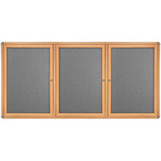 "Ghent® 3 Door Ovation Bulletin Board, Gray Fabric/Maple & Chrome Frame, 72-1/8""W x 48-1/8""H"