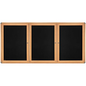 "Ghent® 3 Door Ovation Bulletin Board, Black Fabric/Maple & Chrome Frame, 72-1/8""W x 48-1/8""H"