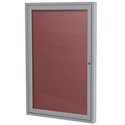 "Ghent® 1 Door Enclosed Flannel Letter Board w/Silver Frame, 18""W x 24""H, Burgundy"