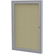 "Ghent® 1 Door Enclosed Fabric Bulletin Board, Beige Fabric/Silver Frame, 18""W x 24""H"