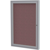 "Ghent® 1 Door Enclosed Fabric Bulletin Board, Merlot Fabric/Silver Frame, 18""W x 24""H"