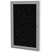 "Ghent® 1 Door Enclosed Recycled Rubber Bulletin Board, 18""W x24""H, Tan Speckled w/Silver Frame"