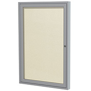 "Ghent® 1 Door Enclosed Vinyl Bulletin Board, Ivory w/Silver Frame, 18""W x 24""H"