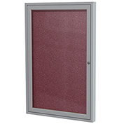 "Ghent® 1 Door Enclosed Vinyl Bulletin Board, Berry w/Silver Frame, 18""W x 24""H"