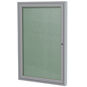 "Ghent® 1 Door Enclosed Vinyl Bulletin Board, Mint w/Silver Frame, 18""W x 24""H"