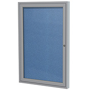 "Ghent® 1 Door Enclosed Vinyl Bulletin Board, Ocean w/Silver Frame, 18""W x 24""H"