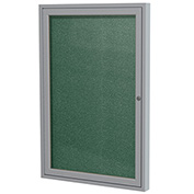 "Ghent® 1 Door Enclosed Vinyl Bulletin Board, Spruce w/Silver Frame, 18""W x 24""H"