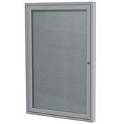 "Ghent® 1 Door Enclosed Vinyl Bulletin Board, Stone w/Silver Frame, 18""W x 24""H"