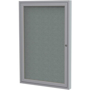 "Ghent® 1 Door Enclosed Fabric Bulletin Board, Gray Fabric/Silver Frame, 24""W x 36""H"