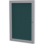 "Ghent® 1 Door Enclosed Fabric Bulletin Board, Blue Fabric/Silver Frame, 24""W x 36""H"
