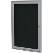 "Ghent® 1 Door Enclosed Fabric Bulletin Board, Black Fabric/Silver Frame, 30""W x 36""H"