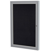 "Ghent® 1 Door Enclosed Recycled Rubber Bulletin Board, 30""W x36""H, Black w/Silver Frame"
