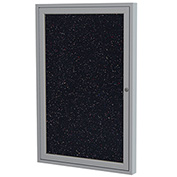 "Ghent® 1 Door Enclosed Recycled Rubber Bulletin Board, 30""W x36""H, Confetti w/Silver Frame"