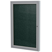 "Ghent® 1 Door Enclosed Vinyl Bulletin Board, Black w/Silver Frame, 30""W x 36""H"