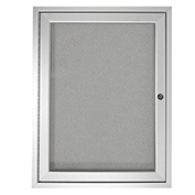 "Ghent® 1 Door Enclosed Indoor/Outdoor Vinyl Bulletin Board - 36"" x 36"" - Silver"