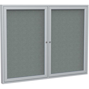 "Ghent® 2 Door Enclosed Fabric Bulletin Board, Gray Fabric/Silver Frame, 48""W x 36""H"