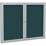 "Ghent® 2 Door Enclosed Fabric Bulletin Board, Blue Fabric/Silver Frame, 48""W x 36""H"