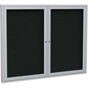 "Ghent® 2 Door Enclosed Fabric Bulletin Board, Black Fabric/Silver Frame, 48""W x 36""H"