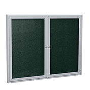 "Ghent® 2 Door Enclosed Vinyl Bulletin Board, Black w/Silver Frame, 48""W x 36""H"