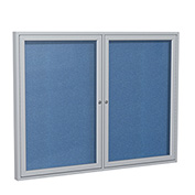 "Ghent® 2 Door Enclosed Vinyl Bulletin Board, Ocean w/Silver Frame, 48""W x 36""H"