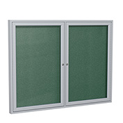 "Ghent® 2 Door Enclosed Vinyl Bulletin Board, Spruce w/Silver Frame, 48""W x 36""H"