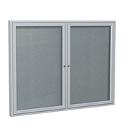 "Ghent® 2 Door Enclosed Vinyl Bulletin Board, Stone w/Silver Frame, 48""W x 36""H"
