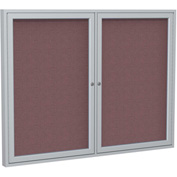 "Ghent® 2 Door Enclosed Fabric Bulletin Board, Merlot Fabric/Silver Frame, 60""W x 36""H"
