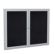 "Ghent® 2 Door Enclosed Recycled Rubber Bulletin Board, 60""W x36""H, Black w/Silver Frame"