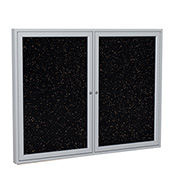 "Ghent® 2 Door Enclosed Recycled Rubber Bulletin Board, 60""W x36""H, Tan Speckled w/Silver Frame"
