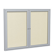 "Ghent® 2 Door Enclosed Vinyl Bulletin Board, Ivory w/Silver Frame, 60""W x 36""H"
