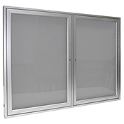 "Ghent® 2 Door Enclosed Vinyl Bulletin Board, Silver w/Silver Frame, 60""W x 36""H"