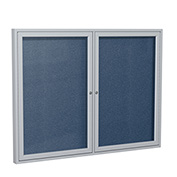 "Ghent® 2 Door Enclosed Vinyl Bulletin Board, Navy w/Silver Frame, 60""W x 36""H"