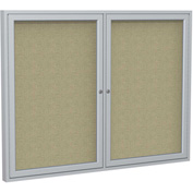 "Ghent® 2 Door Enclosed Fabric Bulletin Board, Beige Fabric/Silver Frame, 60""W x 48""H"