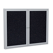 "Ghent® 2 Door Enclosed Recycled Rubber Bulletin Board, 60""W x48""H, Confetti w/Silver Frame"