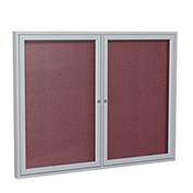 "Ghent® 2 Door Enclosed Vinyl Bulletin Board, Berry w/Silver Frame, 60""W x 48""H"